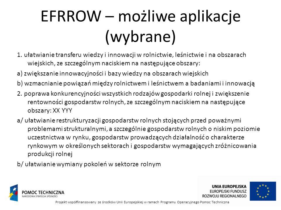 EFRROW – możliwe aplikacje (wybrane) 1.