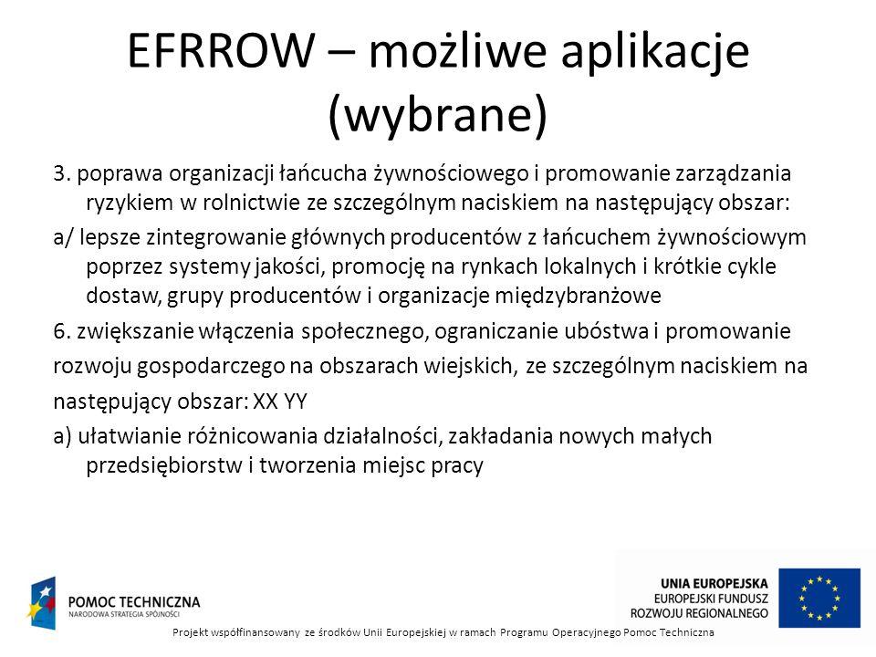 EFRROW – możliwe aplikacje (wybrane) 3.