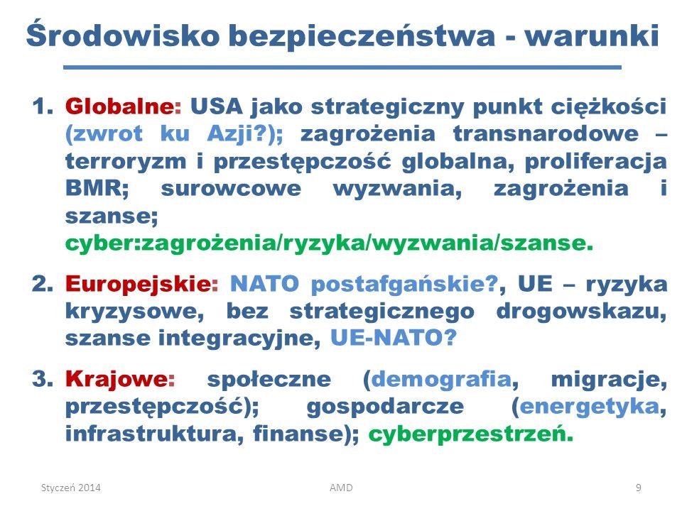 1.Globalne: USA jako strategiczny punkt ciężkości (zwrot ku Azji?); zagrożenia transnarodowe – terroryzm i przestępczość globalna, proliferacja BMR; s