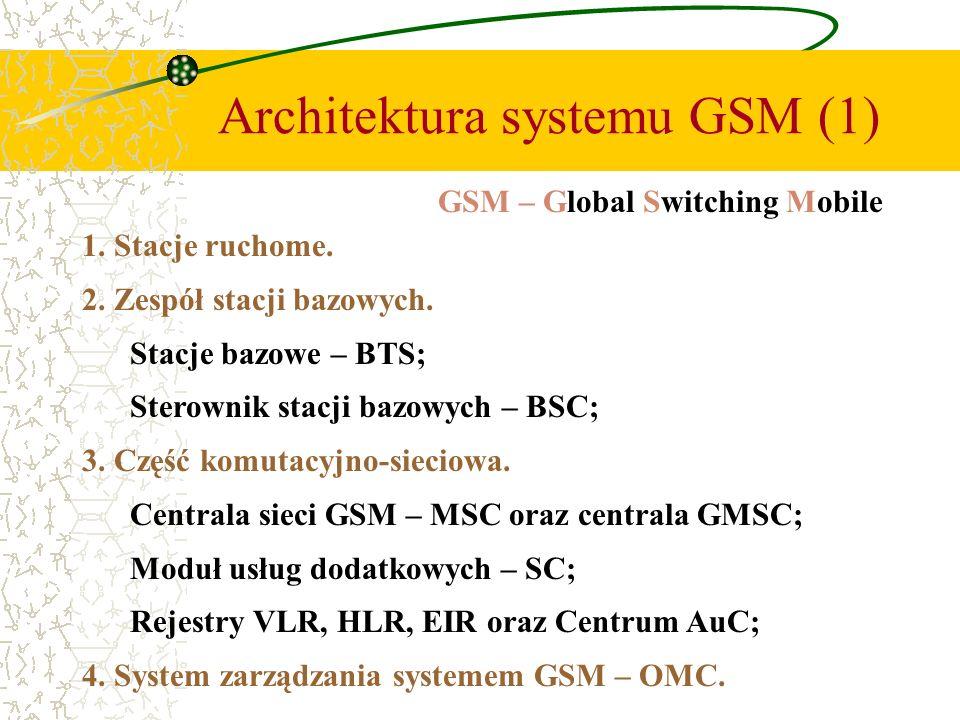 Architektura systemu GSM (1) 1. Stacje ruchome. 2. Zespół stacji bazowych. Stacje bazowe – BTS; Sterownik stacji bazowych – BSC; 3. Część komutacyjno-