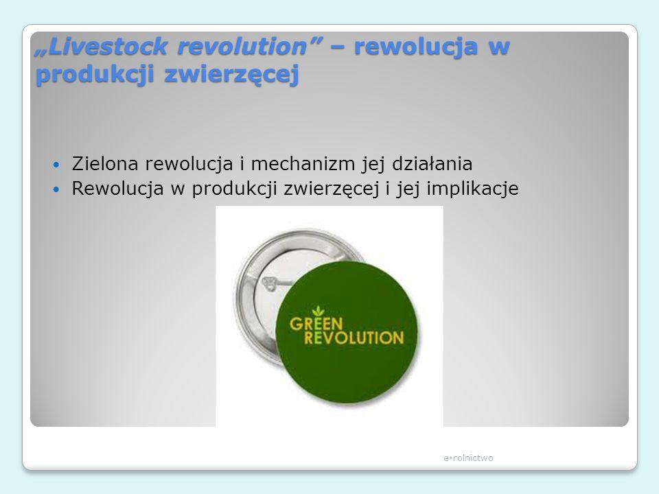 Livestock revolution – rewolucja w produkcji zwierzęcej Zielona rewolucja i mechanizm jej działania Rewolucja w produkcji zwierzęcej i jej implikacje