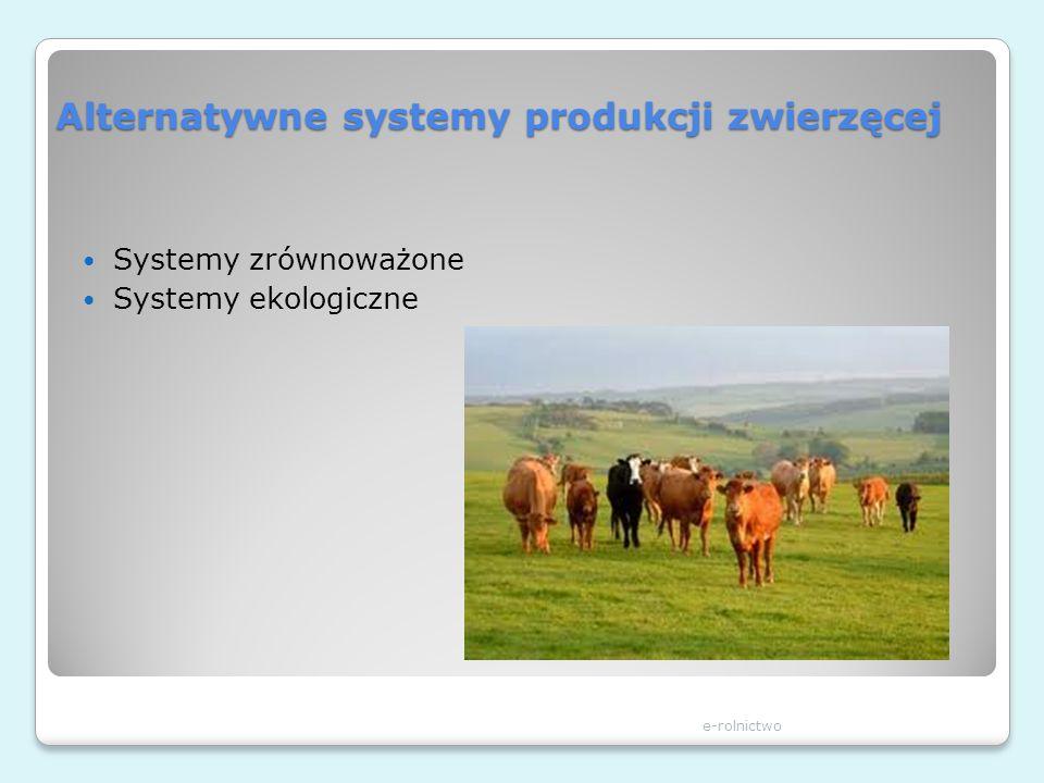 Alternatywne systemy produkcji zwierzęcej Systemy zrównoważone Systemy ekologiczne e-rolnictwo