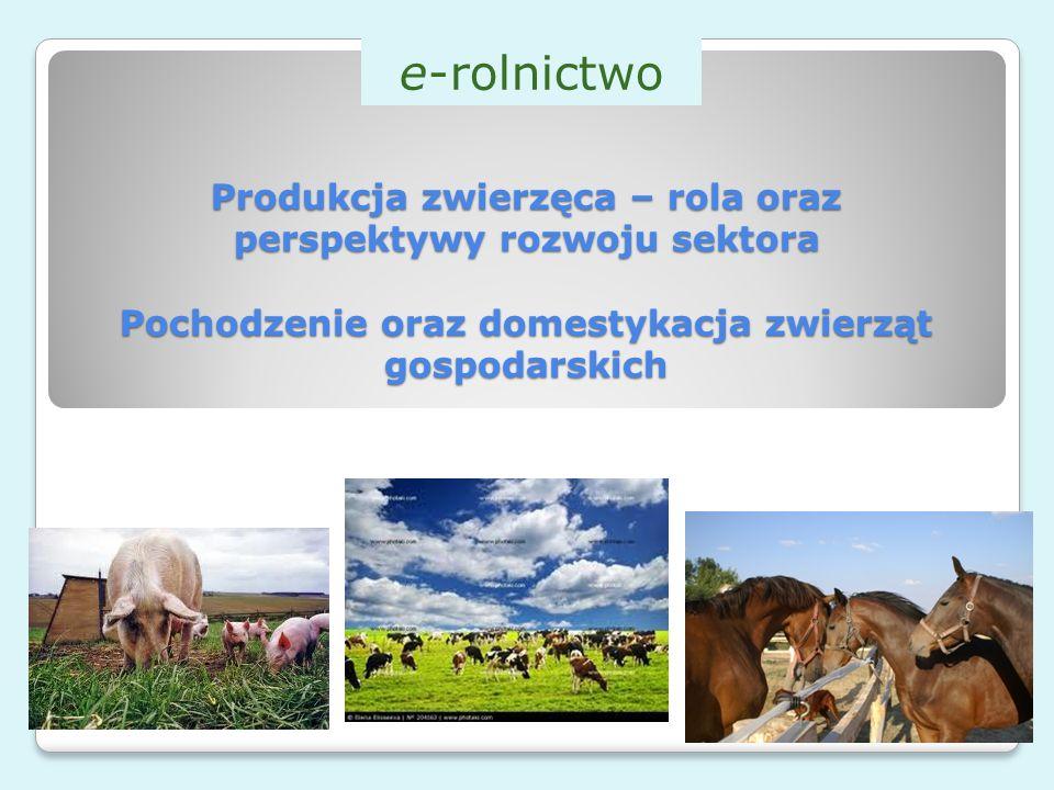 Produkcja zwierzęca – rola oraz perspektywy rozwoju sektora Pochodzenie oraz domestykacja zwierząt gospodarskich e-rolnictwo