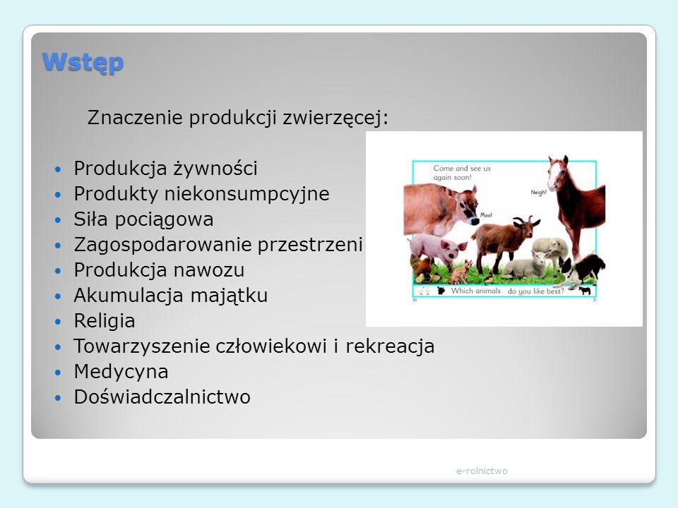 Wstęp Znaczenie produkcji zwierzęcej: Produkcja żywności Produkty niekonsumpcyjne Siła pociągowa Zagospodarowanie przestrzeni Produkcja nawozu Akumula