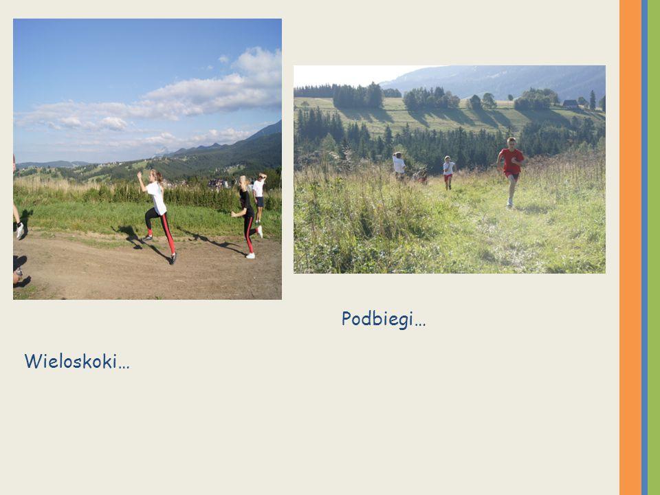 Pani Ania ( w środku) też z nami ćwiczyła. Podbiegi też … nie było taryfy ulgowej dla nauczycieli.
