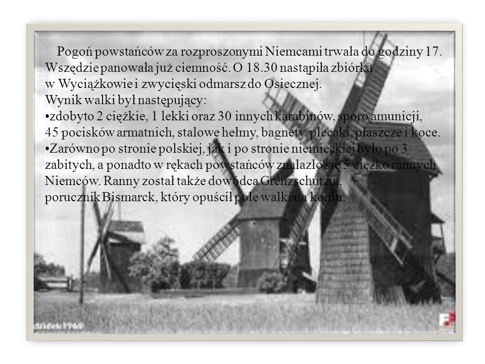 Pogoń powstańców za rozproszonymi Niemcami trwała do godziny 17. Wszędzie panowała już ciemność. O 18.30 nastąpiła zbiórka w Wyciążkowie i zwycięski o