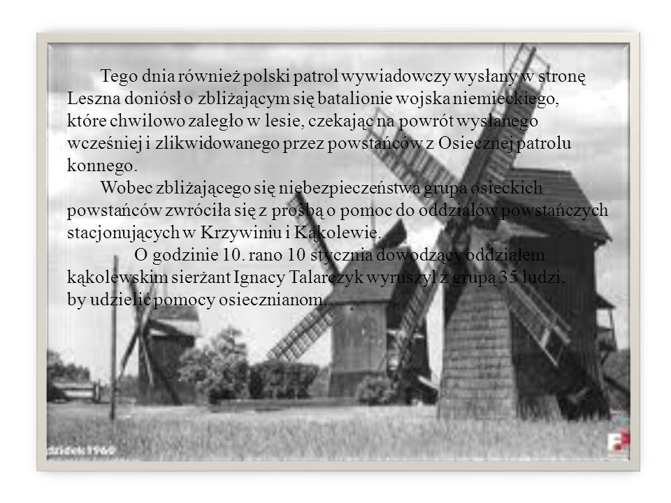 W tym samym czasie, jako odzew dowództwa wojsk niemieckich zgrupowanych w Lesznie na rozbrojenie patrolu poprzedniego dnia, do Osiecznej przybył oddział 60 żołnierzy niemieckich, który zatrzymał się przy wiatrakach, około 400 metrów przed miastem.