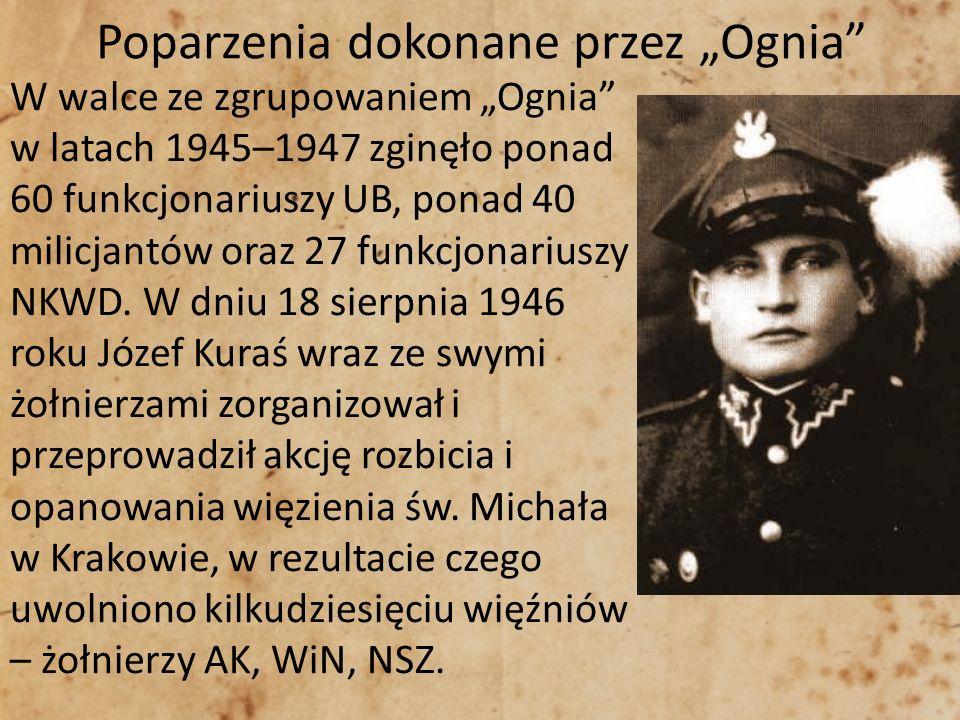Poparzenia dokonane przez Ognia W walce ze zgrupowaniem Ognia w latach 1945–1947 zginęło ponad 60 funkcjonariuszy UB, ponad 40 milicjantów oraz 27 fun