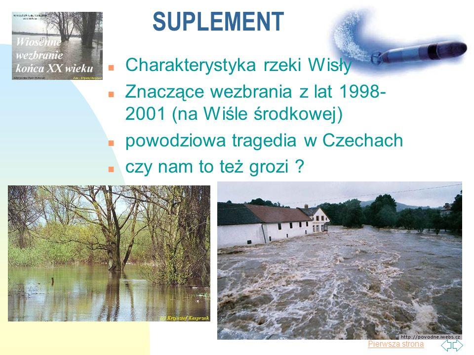 Pierwsza strona Charakterystyka hydrologiczna Wisły n Charakter zlewni rzeki i jej zasilania kształtują przepływy wód osiągające od 100 m 3 /s do 4500 – 5500 m 3 /s przy stanach niskich i wysokich i ok.