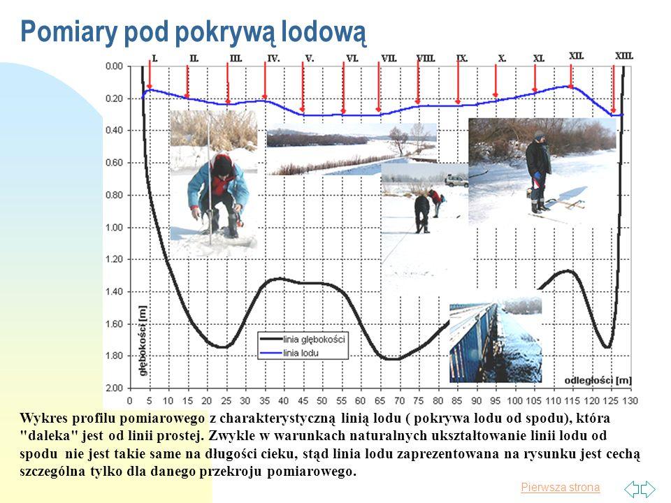 Pierwsza strona Pomiary pod lodem są specyficznym rodzajem pomiarów hydrometrycznych wykonywanych przez ekipy pomiarowe Państwowej Służbie Hydrologiczno- Meteorologicznej ze względu na porę roku (nie zawsze przychylną w pracach terenowych), jak i ze względów merytorycznych wynikających ze szczególnych oporów ruchu wody pod pokrywą lodową.