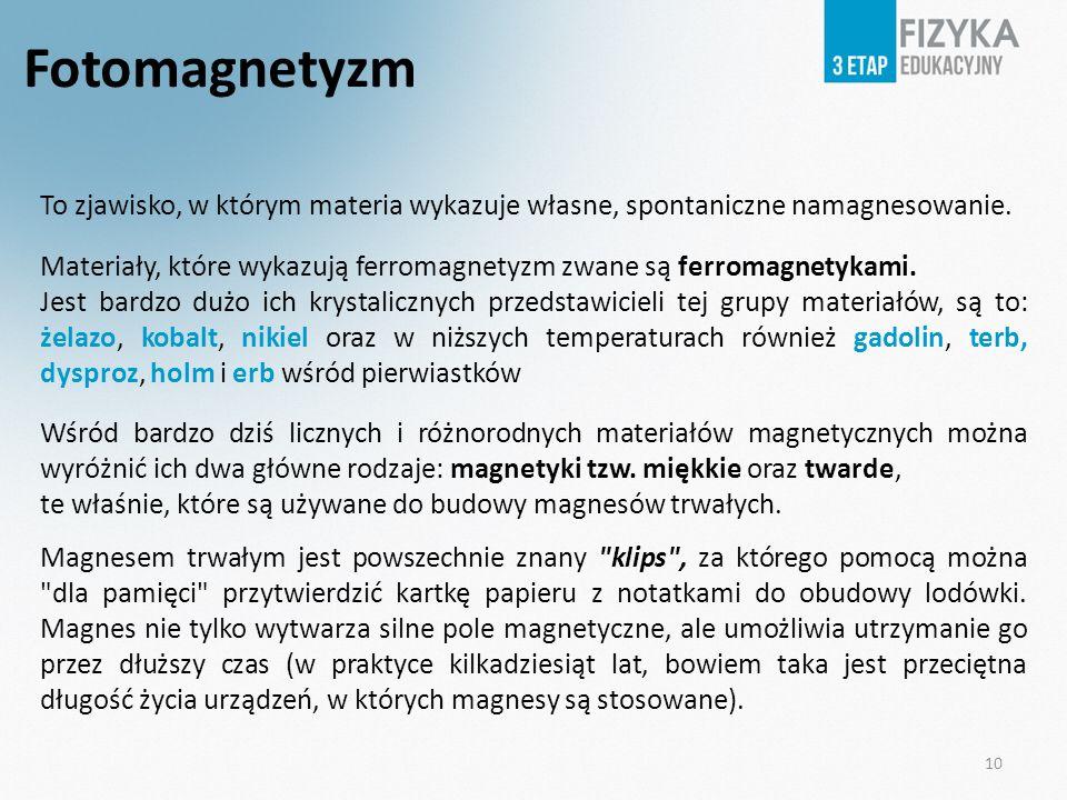Fotomagnetyzm To zjawisko, w którym materia wykazuje własne, spontaniczne namagnesowanie. Materiały, które wykazują ferromagnetyzm zwane są ferromagne