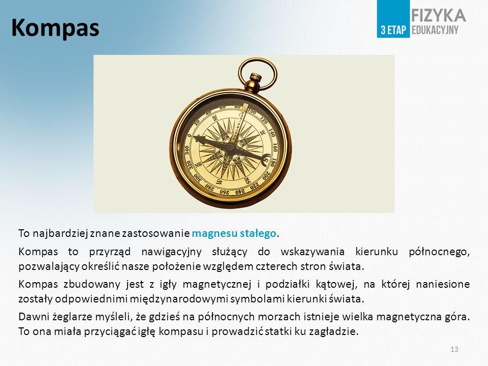 Kompas To najbardziej znane zastosowanie magnesu stałego. Kompas to przyrząd nawigacyjny służący do wskazywania kierunku północnego, pozwalający okreś