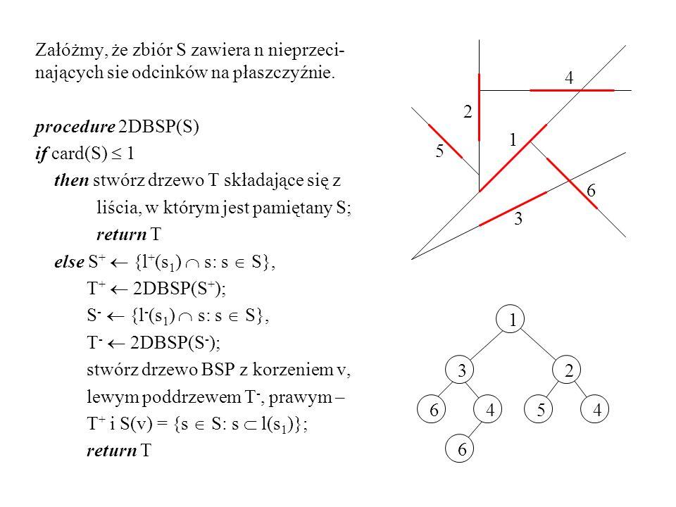 Załóżmy, że zbiór S zawiera n nieprzeci- nających sie odcinków na płaszczyźnie. procedure 2DBSP(S) if card(S) 1 then stwórz drzewo T składające się z