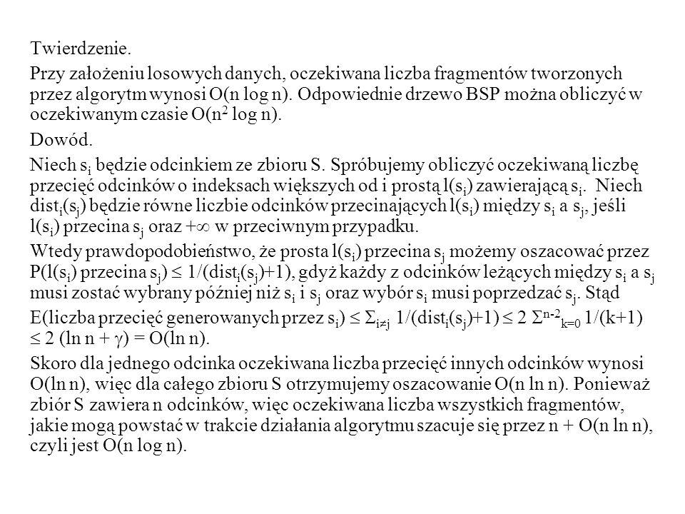Twierdzenie. Przy założeniu losowych danych, oczekiwana liczba fragmentów tworzonych przez algorytm wynosi O(n log n). Odpowiednie drzewo BSP można ob