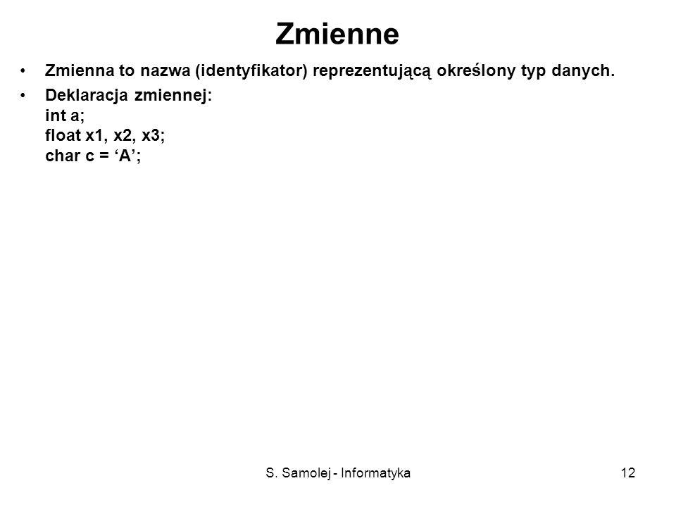 S. Samolej - Informatyka12 Zmienne Zmienna to nazwa (identyfikator) reprezentującą określony typ danych. Deklaracja zmiennej: int a; float x1, x2, x3;
