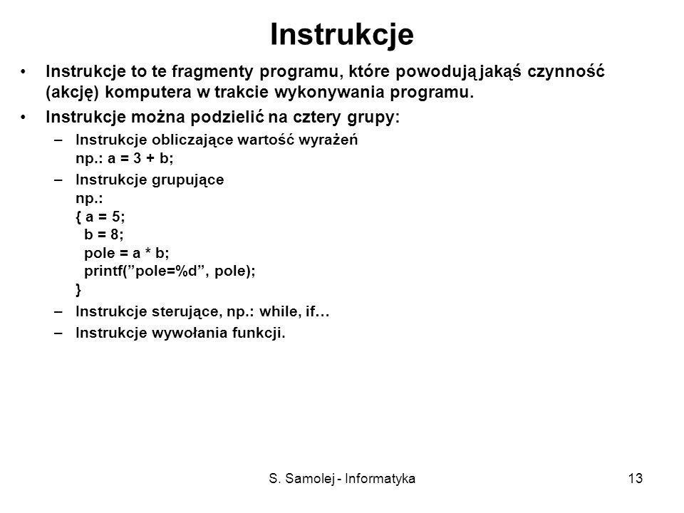 S. Samolej - Informatyka13 Instrukcje Instrukcje to te fragmenty programu, które powodują jakąś czynność (akcję) komputera w trakcie wykonywania progr