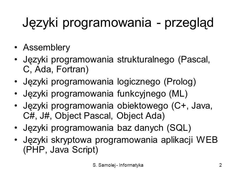 S. Samolej - Informatyka2 Języki programowania - przegląd Assemblery Języki programowania strukturalnego (Pascal, C, Ada, Fortran) Języki programowani