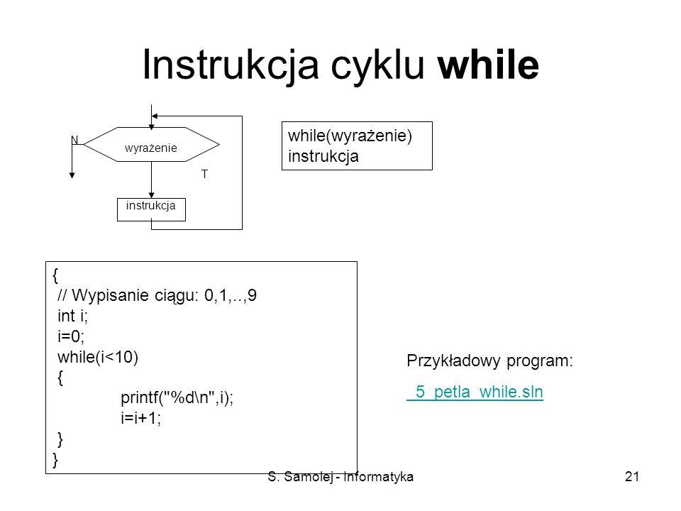 S. Samolej - Informatyka21 Instrukcja cyklu while instrukcja T N wyrażenie while(wyrażenie) instrukcja { // Wypisanie ciągu: 0,1,..,9 int i; i=0; whil