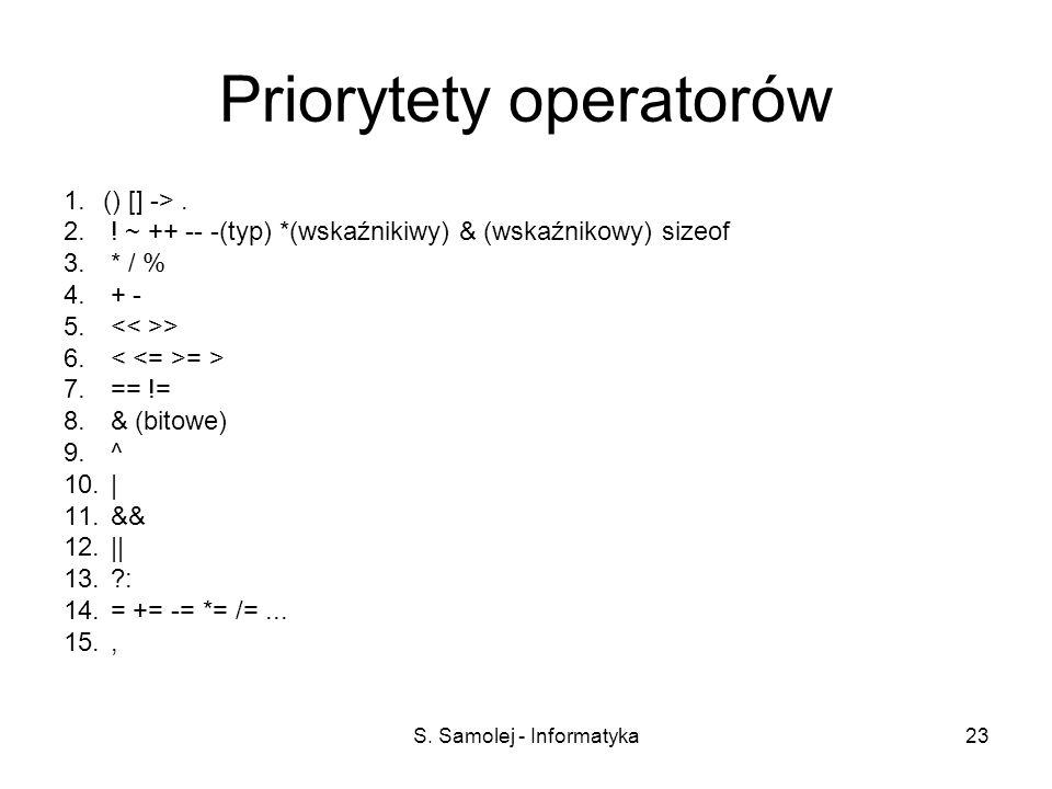 S. Samolej - Informatyka23 Priorytety operatorów 1.() [] ->. 2. ! ~ ++ -- -(typ) *(wskaźnikiwy) & (wskaźnikowy) sizeof 3. * / % 4. + - 5. > 6. = > 7.