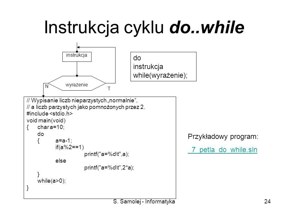 S. Samolej - Informatyka24 Instrukcja cyklu do..while // Wypisanie liczb nieparzystych normalnie, // a liczb parzystych jako pomnożonych przez 2. #inc