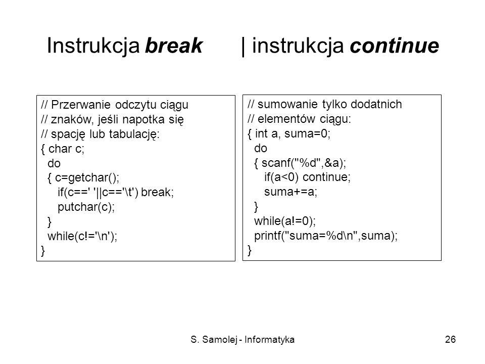 S. Samolej - Informatyka26 Instrukcja break | instrukcja continue // Przerwanie odczytu ciągu // znaków, jeśli napotka się // spację lub tabulację: {