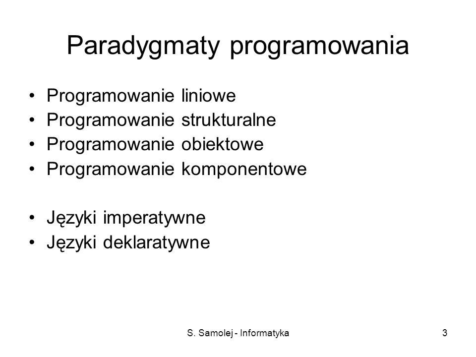 S. Samolej - Informatyka3 Paradygmaty programowania Programowanie liniowe Programowanie strukturalne Programowanie obiektowe Programowanie komponentow