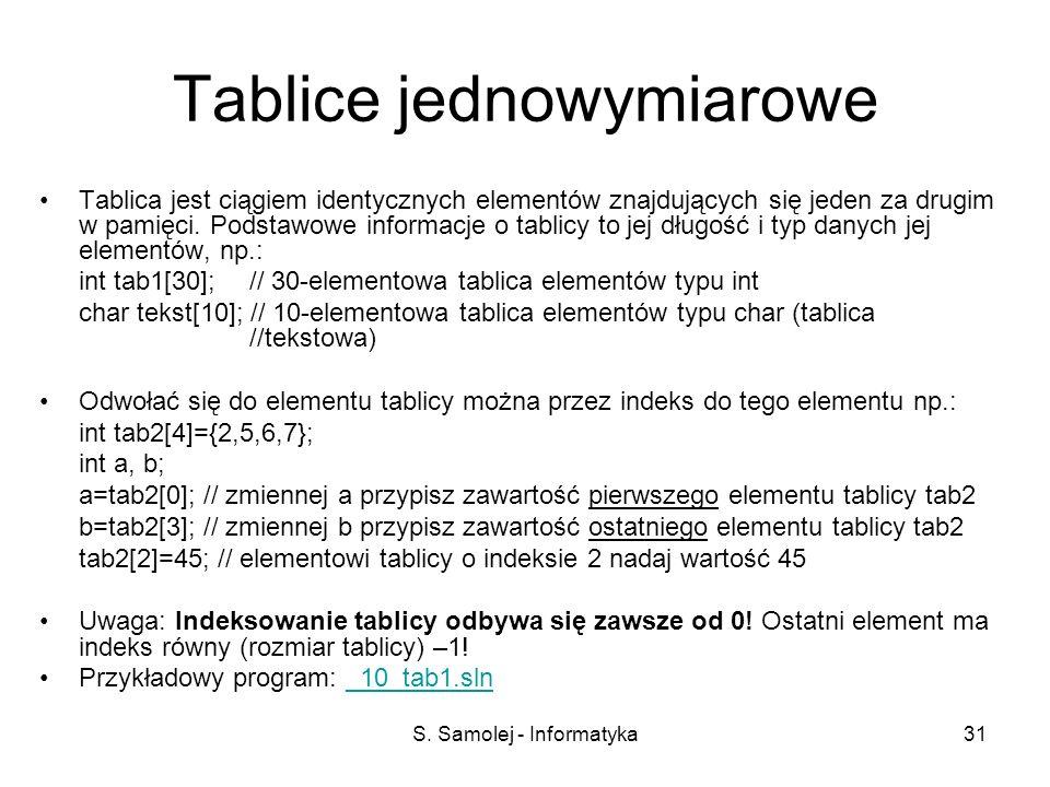 S. Samolej - Informatyka31 Tablice jednowymiarowe Tablica jest ciągiem identycznych elementów znajdujących się jeden za drugim w pamięci. Podstawowe i