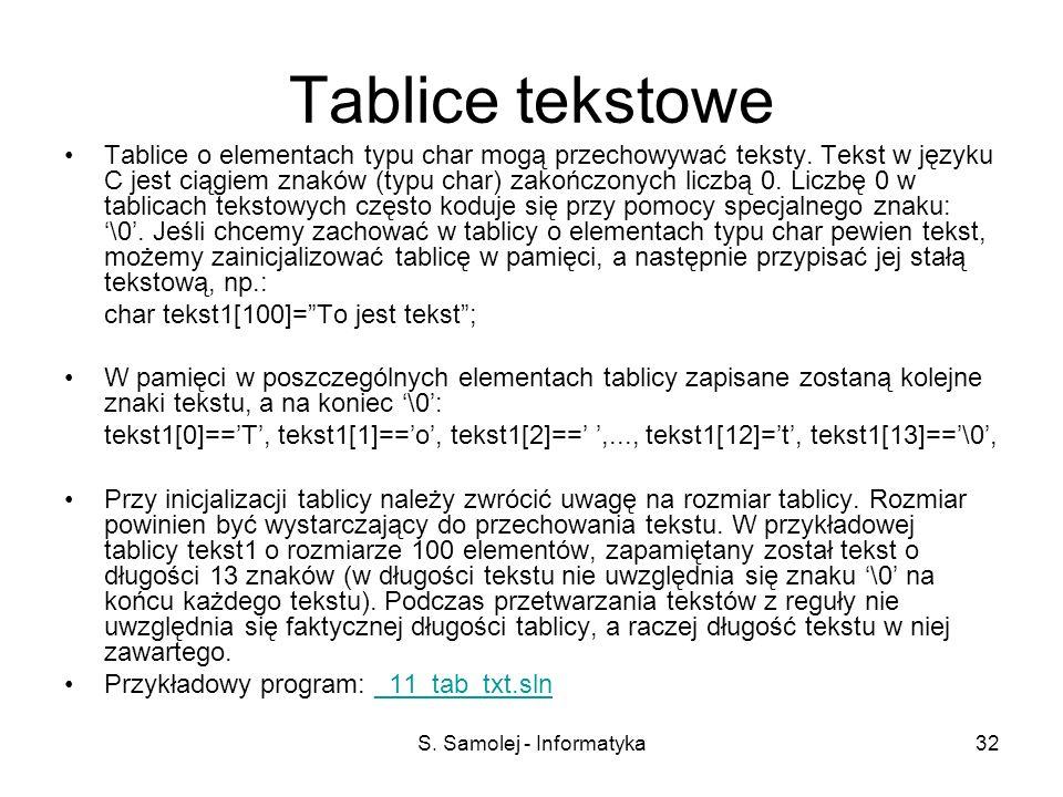 S. Samolej - Informatyka32 Tablice tekstowe Tablice o elementach typu char mogą przechowywać teksty. Tekst w języku C jest ciągiem znaków (typu char)