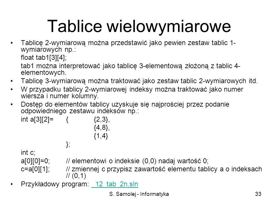 S. Samolej - Informatyka33 Tablice wielowymiarowe Tablicę 2-wymiarową można przedstawić jako pewien zestaw tablic 1- wymiarowych np.: float tab1[3][4]
