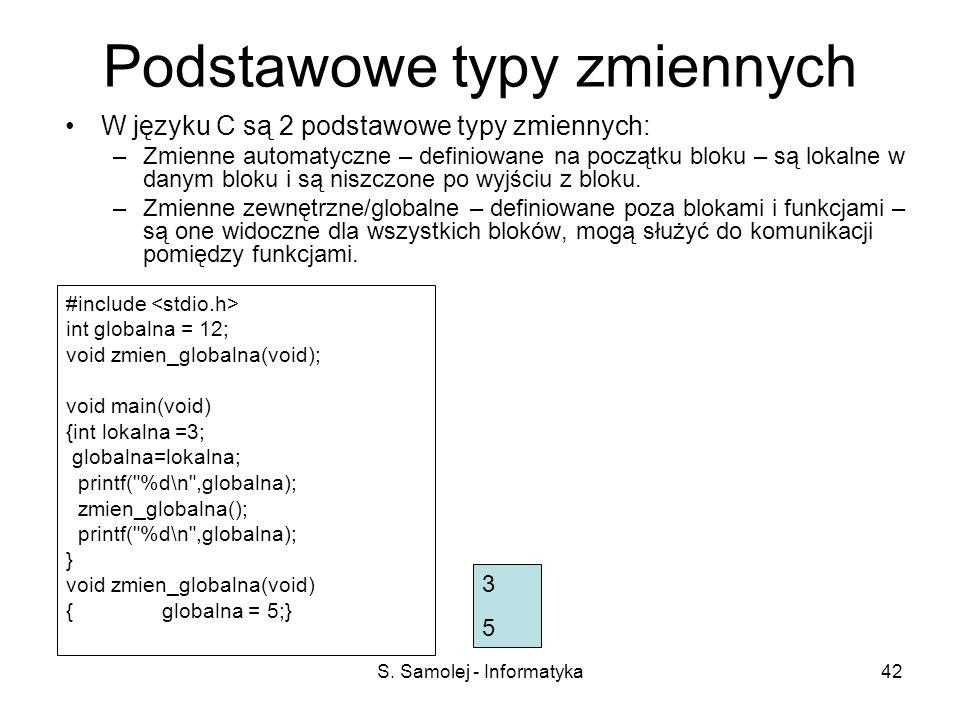 S. Samolej - Informatyka42 Podstawowe typy zmiennych W języku C są 2 podstawowe typy zmiennych: –Zmienne automatyczne – definiowane na początku bloku