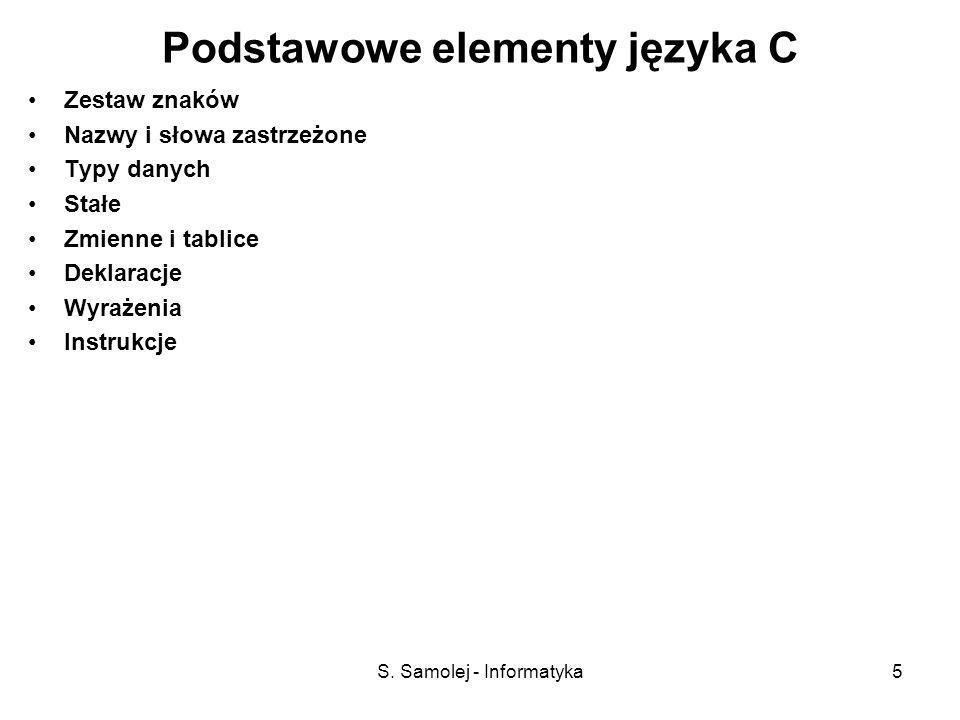 S. Samolej - Informatyka5 Podstawowe elementy języka C Zestaw znaków Nazwy i słowa zastrzeżone Typy danych Stałe Zmienne i tablice Deklaracje Wyrażeni