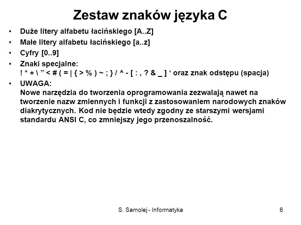 S. Samolej - Informatyka6 Zestaw znaków języka C Duże litery alfabetu łacińskiego [A..Z] Małe litery alfabetu łacińskiego [a..z] Cyfry [0..9] Znaki sp