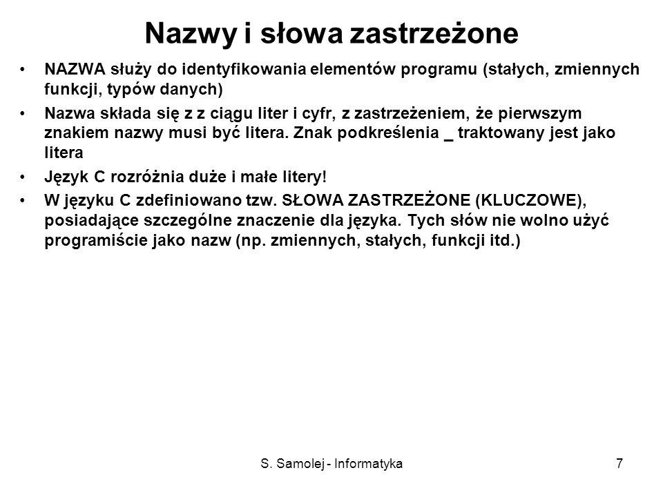 S. Samolej - Informatyka7 Nazwy i słowa zastrzeżone NAZWA służy do identyfikowania elementów programu (stałych, zmiennych funkcji, typów danych) Nazwa