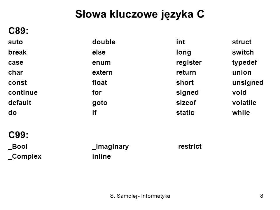 S. Samolej - Informatyka8 Słowa kluczowe języka C C89: auto double intstruct breakelselongswitch case enumregistertypedef charexternreturnunion constf