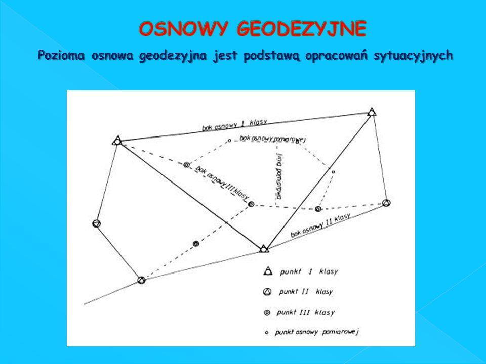 Pozioma osnowa geodezyjna jest podstawą opracowań sytuacyjnych Pozioma osnowa geodezyjna jest podstawą opracowań sytuacyjnych