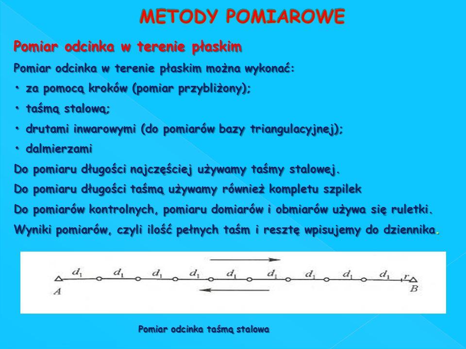 Pomiar odcinka w terenie płaskim Pomiar odcinka w terenie płaskim można wykonać: za pomocą kroków (pomiar przybliżony); za pomocą kroków (pomiar przyb