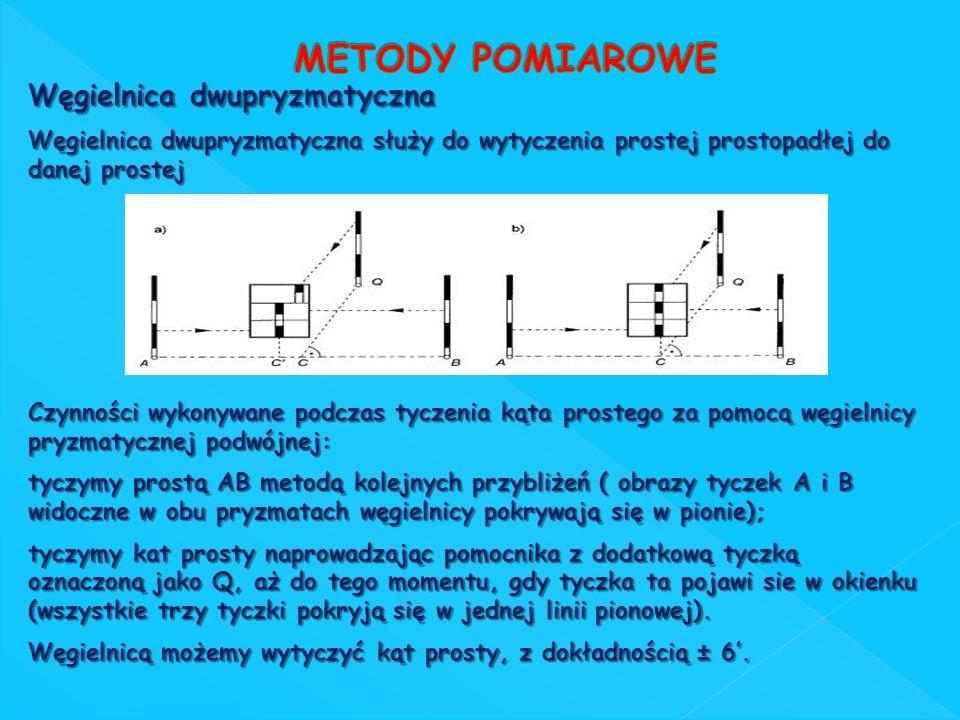 Węgielnica dwupryzmatyczna Węgielnica dwupryzmatyczna służy do wytyczenia prostej prostopadłej do danej prostej Czynności wykonywane podczas tyczenia