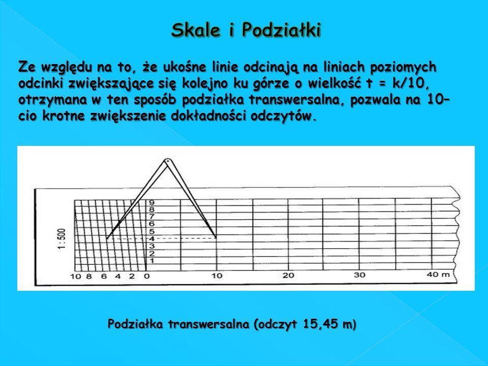Podziałka transwersalna (odczyt 15,45 m ) Ze względu na to, że ukośne linie odcinają na liniach poziomych odcinki zwiększające się kolejno ku górze o