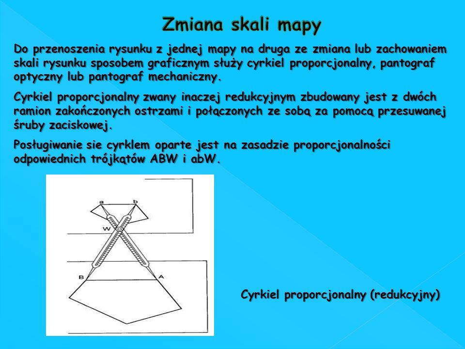 Do przenoszenia rysunku z jednej mapy na druga ze zmiana lub zachowaniem skali rysunku sposobem graficznym służy cyrkiel proporcjonalny, pantograf opt