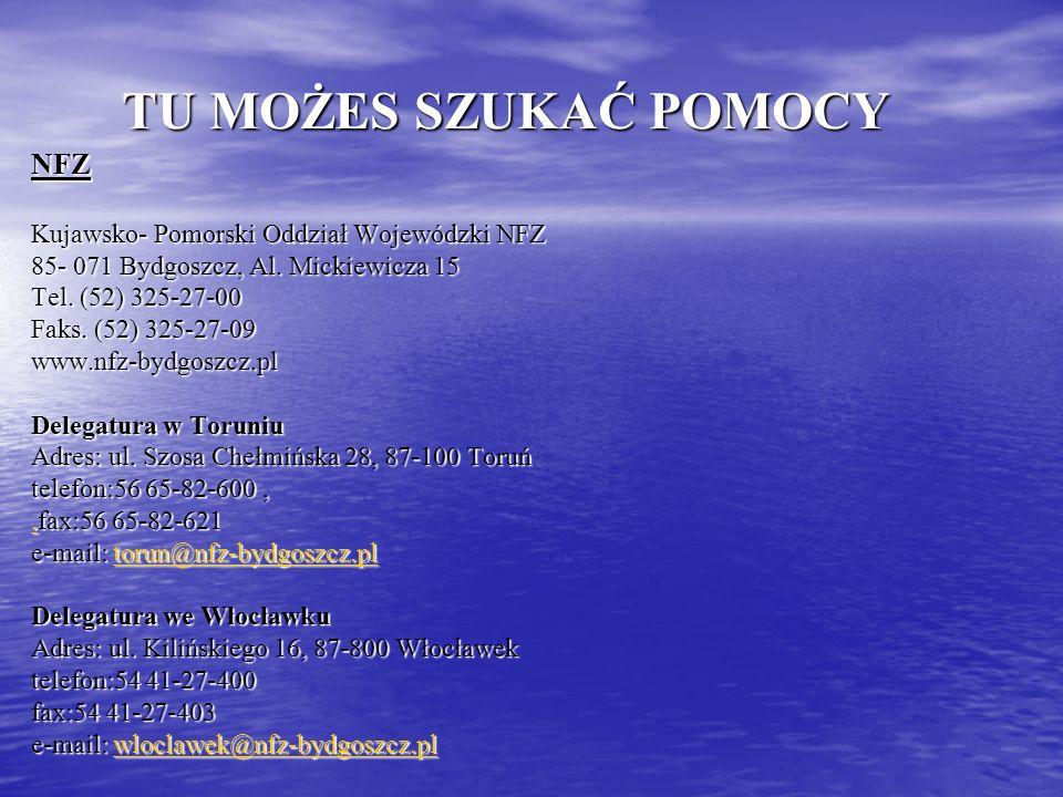 TU MOŻES SZUKAĆ POMOCY NFZ Kujawsko- Pomorski Oddział Wojewódzki NFZ 85- 071 Bydgoszcz, Al. Mickiewicza 15 Tel. (52) 325-27-00 Faks. (52) 325-27-09 ww