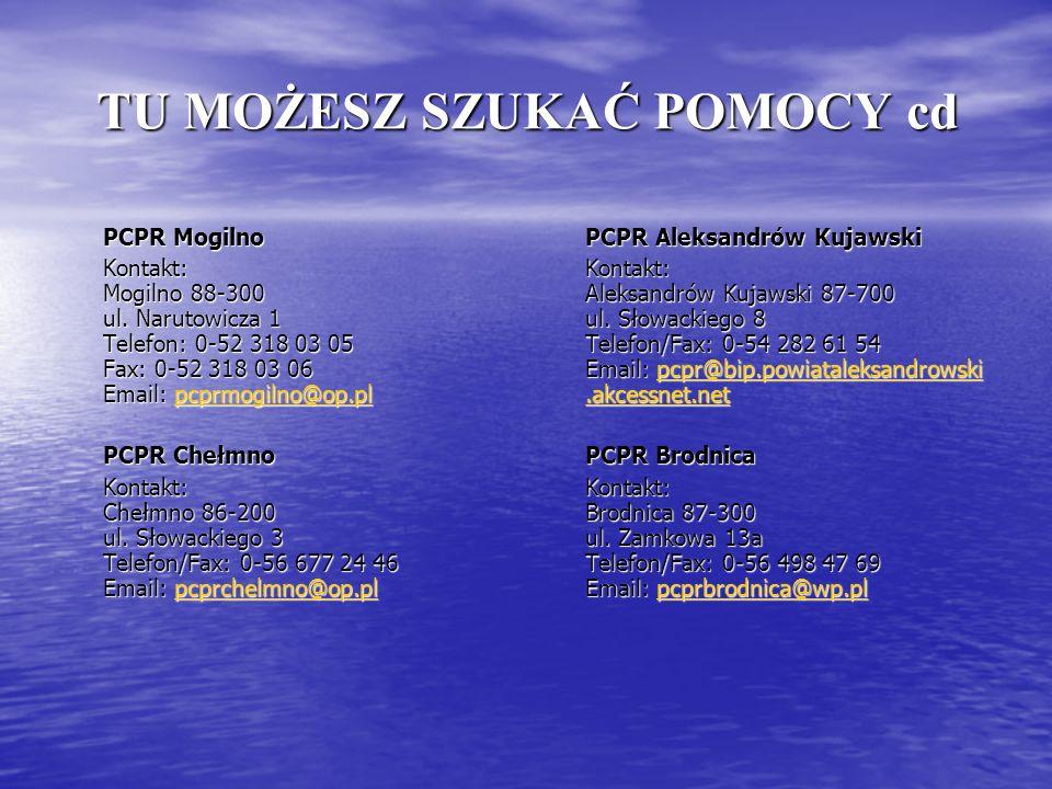 TU MOŻESZ SZUKAĆ POMOCY cd PCPR Mogilno Kontakt: Mogilno 88-300 ul. Narutowicza 1 Telefon: 0-52 318 03 05 Fax: 0-52 318 03 06 Email: pcprmogilno@op.pl