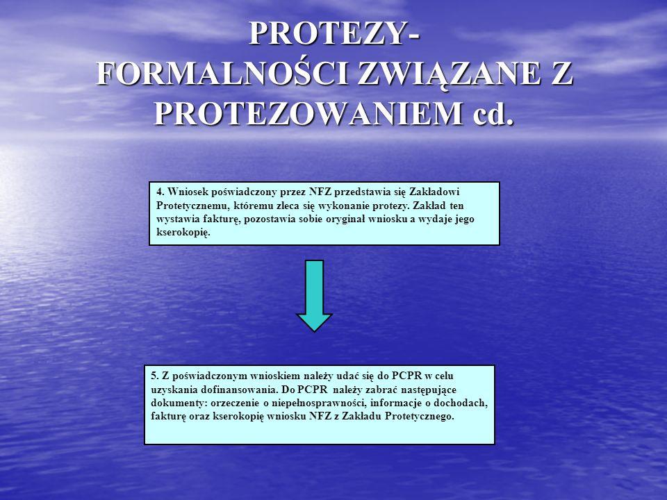 PROTEZY- FORMALNOŚCI ZWIĄZANE Z PROTEZOWANIEM cd. 4. Wniosek poświadczony przez NFZ przedstawia się Zakładowi Protetycznemu, któremu zleca się wykonan