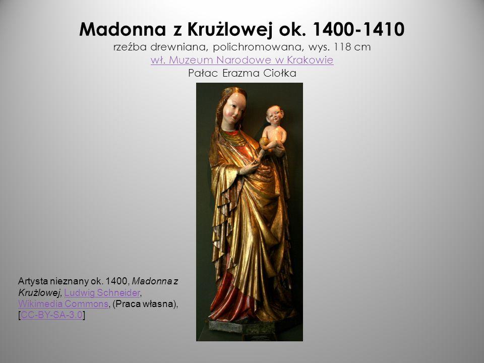 Madonna z Krużlowej ok. 1400-1410 rzeźba drewniana, polichromowana, wys. 118 cm wł. Muzeum Narodowe w Krakowie Pałac Erazma Ciołka wł. Muzeum Narodowe