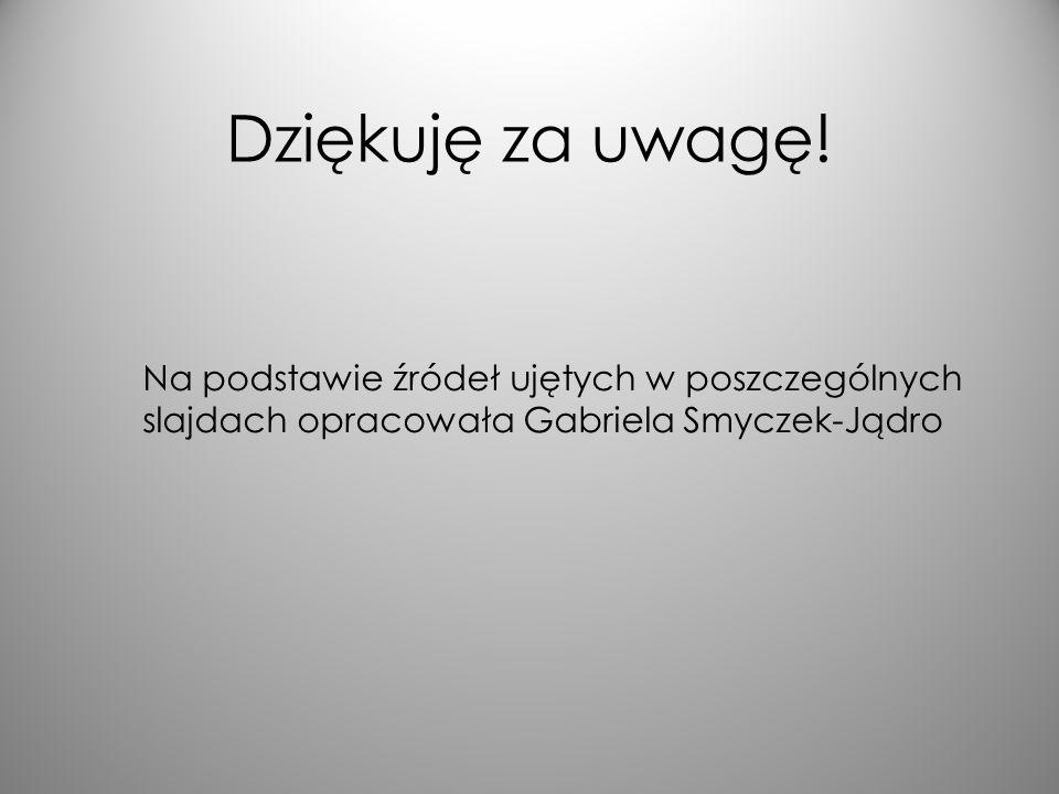 Dziękuję za uwagę! Na podstawie źródeł ujętych w poszczególnych slajdach opracowała Gabriela Smyczek-Jądro