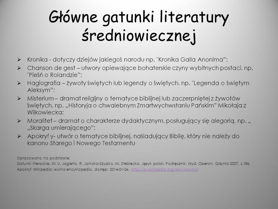Główne gatunki literatury średniowiecznej Kronika - dotyczy dziejów jakiegoś narodu np.