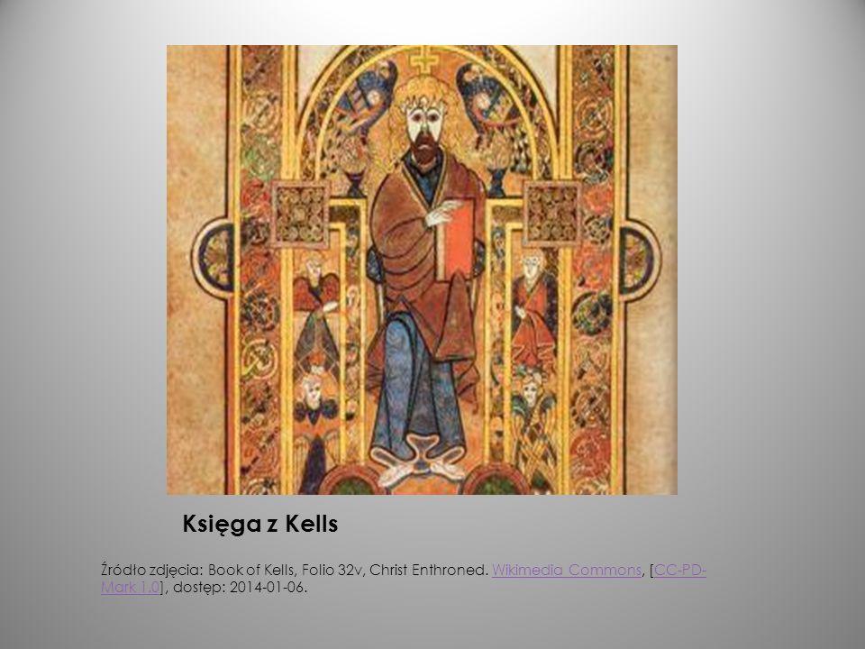 Księga z Kells Źródło zdjęcia: Book of Kells, Folio 32v, Christ Enthroned. Wikimedia Commons, [CC-PD- Mark 1.0], dostęp: 2014-01-06.Wikimedia CommonsC