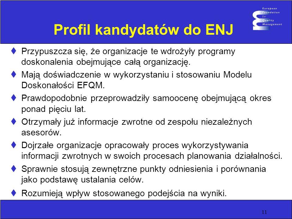 11 Profil kandydatów do ENJ Przypuszcza się, że organizacje te wdrożyły programy doskonalenia obejmujące całą organizację. Mają doświadczenie w wykorz