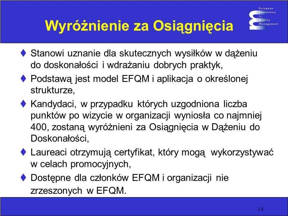 14 Wyróżnienie za Osiągnięcia Stanowi uznanie dla skutecznych wysiłków w dążeniu do doskonałości i wdrażaniu dobrych praktyk, Podstawą jest model EFQM
