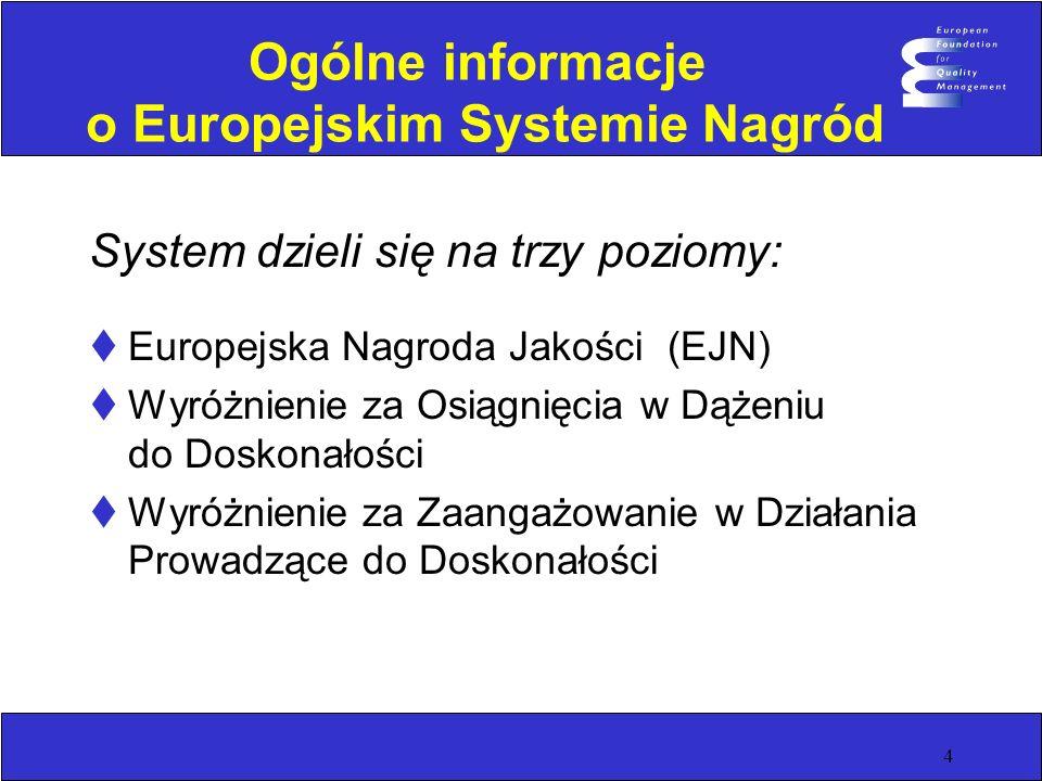 4 Ogólne informacje o Europejskim Systemie Nagród System dzieli się na trzy poziomy: Europejska Nagroda Jakości (EJN) Wyróżnienie za Osiągnięcia w Dąż