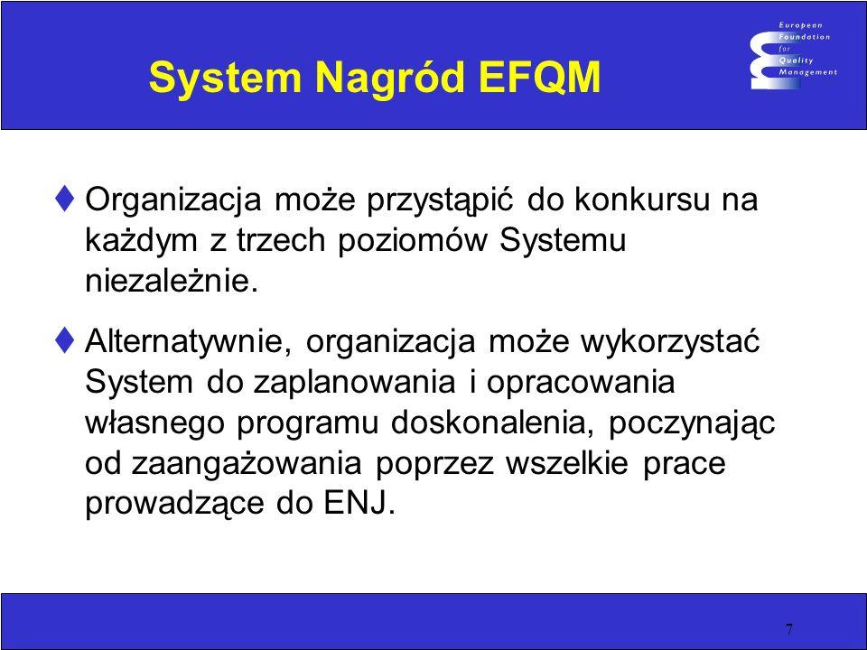 7 System Nagród EFQM Organizacja może przystąpić do konkursu na każdym z trzech poziomów Systemu niezależnie. Alternatywnie, organizacja może wykorzys